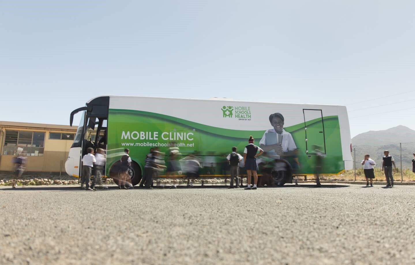 Mobile Schools Health bus outside school