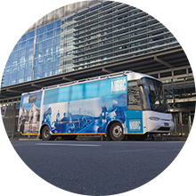 NHBRC mobile parked outside building